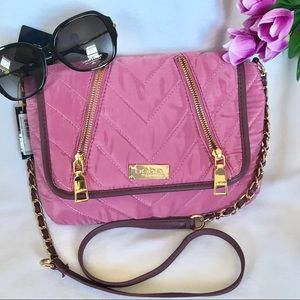 BEBE Chain Strap Nylon Pale Purple Shoulder Bag
